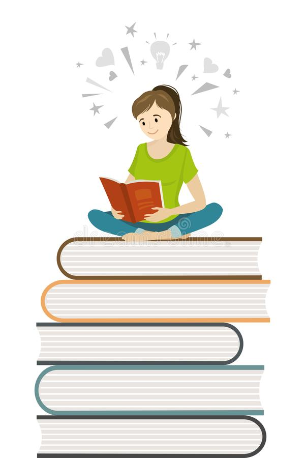 Cartoon girl teen sitting on books and read book,learning proces. S concept,flat vector illustration vector illustration