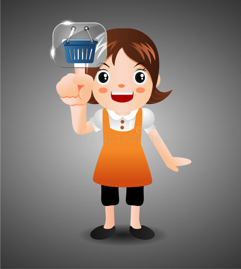 Download Cartoon Girl  Touching The Screen With Her Finger Royalty Free Stock Photo - Image: 20588975