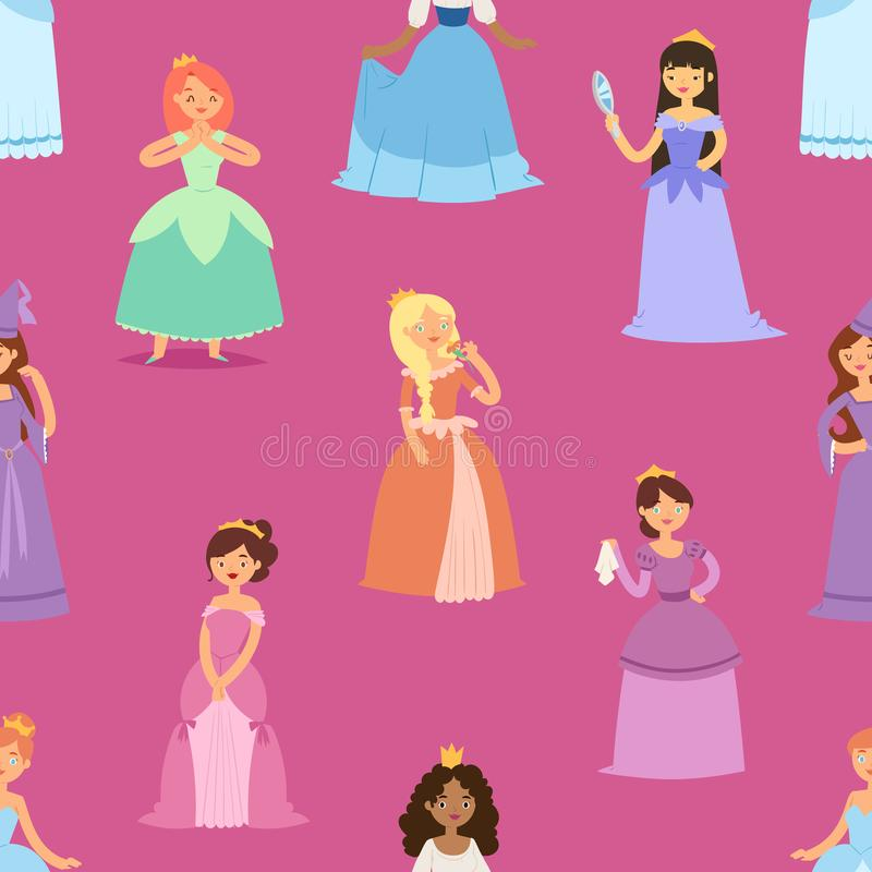 Cartoon girl vector princess characters different vector illustration