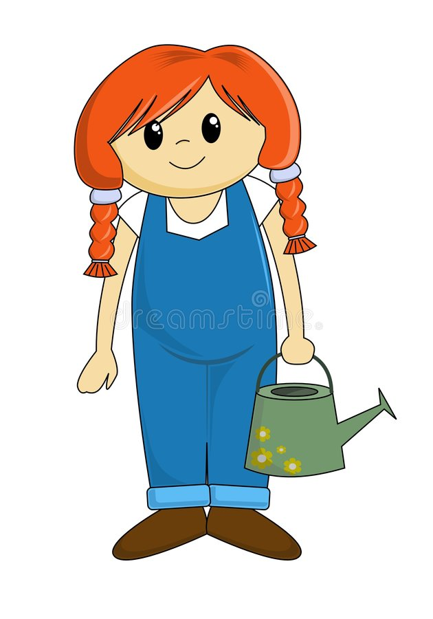 Cartoon Girl with Watering Can stock illustration