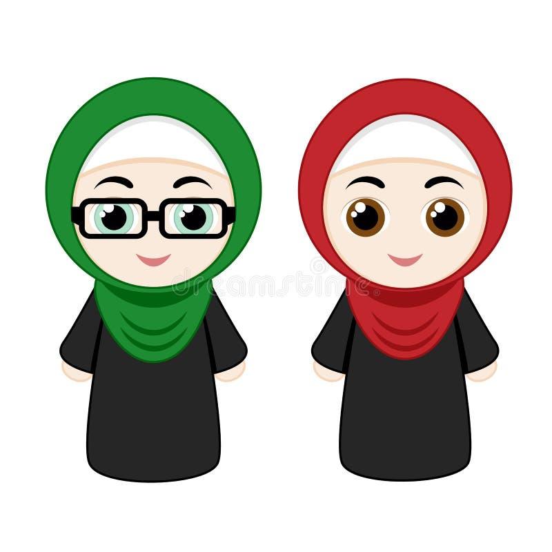 Cartoon girls with hijab vector illustration