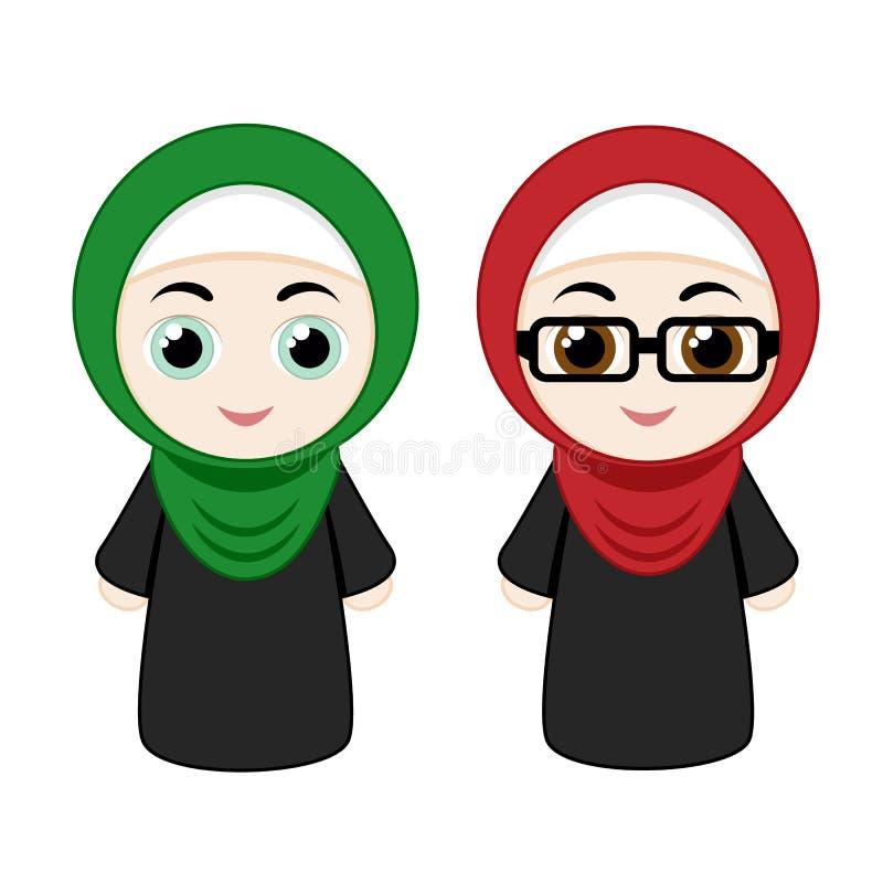 Cartoon girls with hijab stock illustration