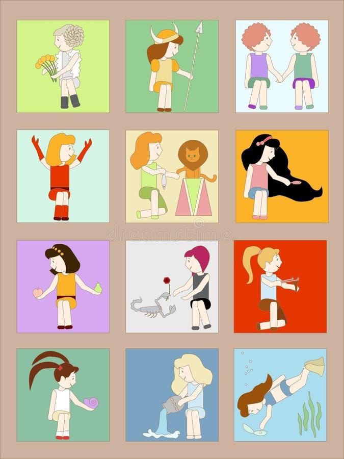 Download Cartoon Girls Horoscope Signs Stock Photo - Image: 27034120