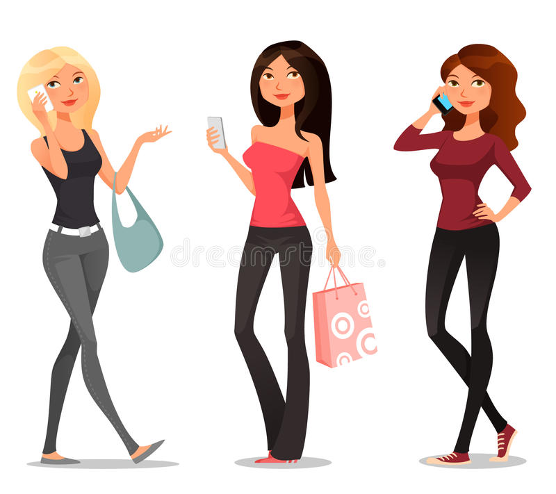 Cartoon girls with mobile phones royalty free illustration