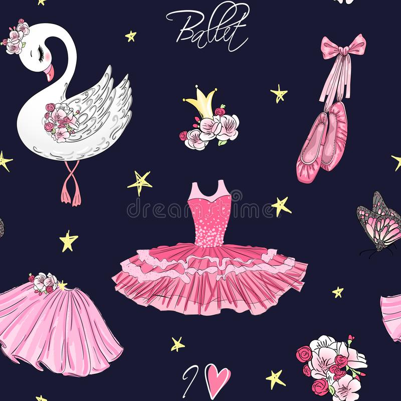 Cartoon girls seamless pattern with hand drawn ballet pointe shoes, tutu, crown, flowers and cute swan. stock illustration