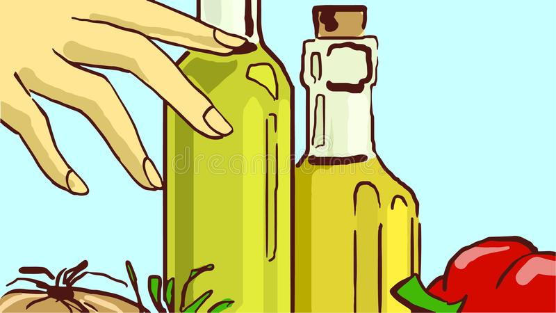 Cartoon Glass Bottles with Cooking Oil and Vegetables royalty free illustration
