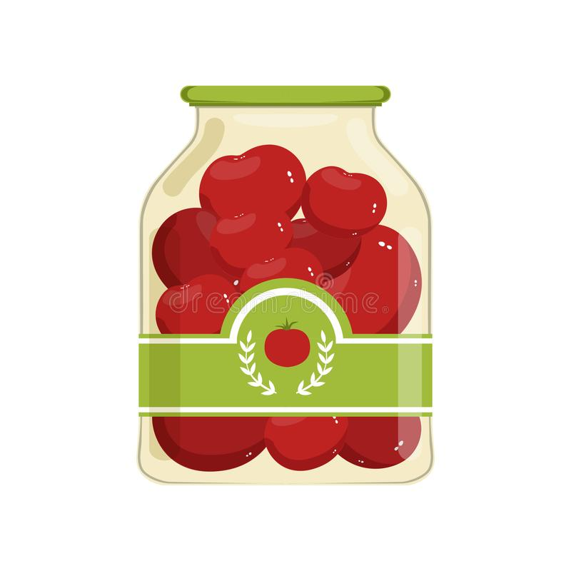 Cartoon glass jar of red marinated tomatoes. Bank with vegetable on brand label. Canned food. Ingredients for cooking stock illustration
