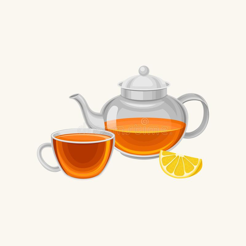 Cartoon glass teapot and cup with fresh brewed tea, slice of sweet lemon. Breakfast concept. Flat vector design for royalty free illustration