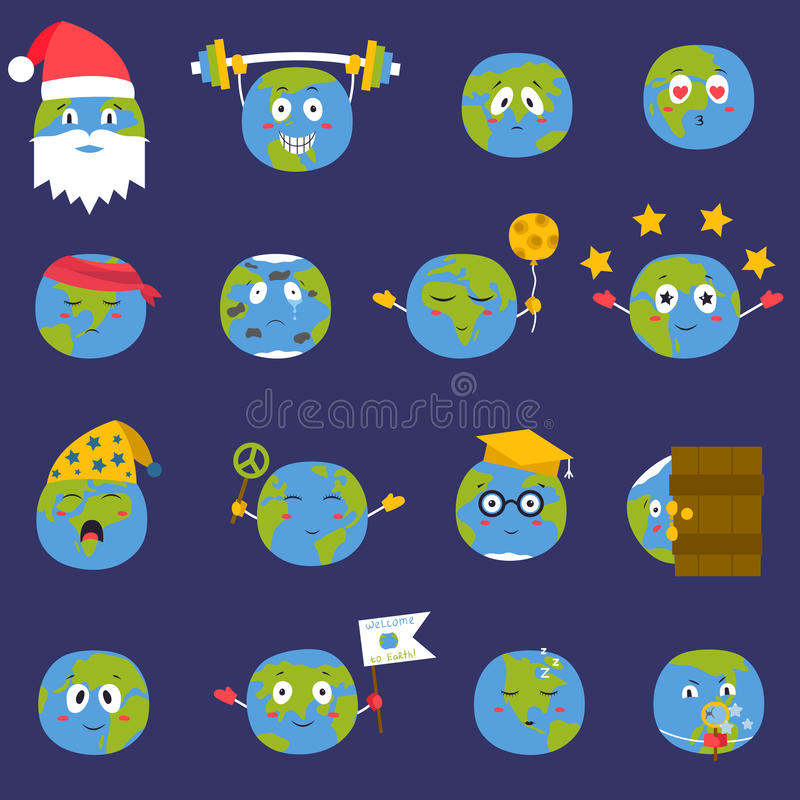 Cartoon globe Earth emojji smile face character expression and blue planet vector illustration. royalty free illustration