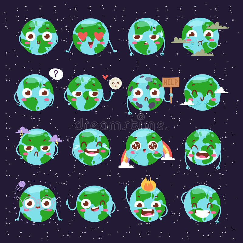 Cartoon globe with emotion web icons green global smile happy nature character expression and ecology earth planet world royalty free illustration
