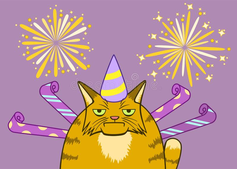 Cartoon gloomy cat on a celebration. Cartoon gloomy ginger cat on a celebration with fireforks on background royalty free illustration