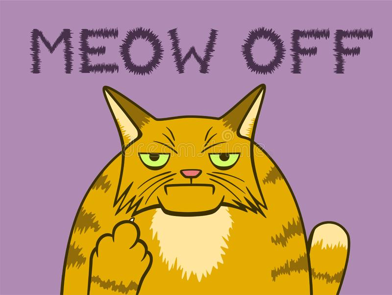 Cartoon gloomy cat shows middle finger. Cartoon gloomy ginger cat shows middle finger and say meow off on background royalty free illustration