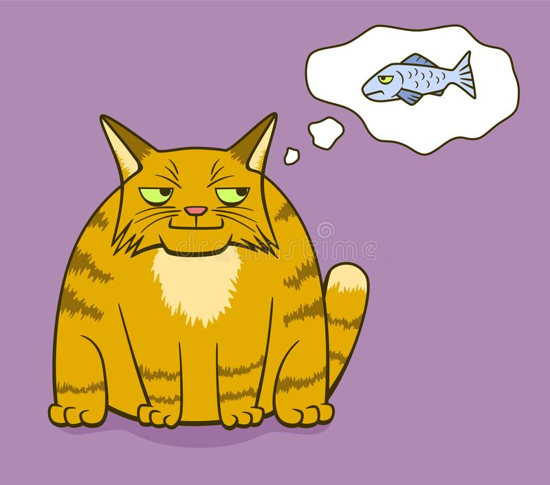 Cartoon gloomy cat think about fish. Cartoon gloomy ginger cat smiling and think about gloomy fish on background vector illustration