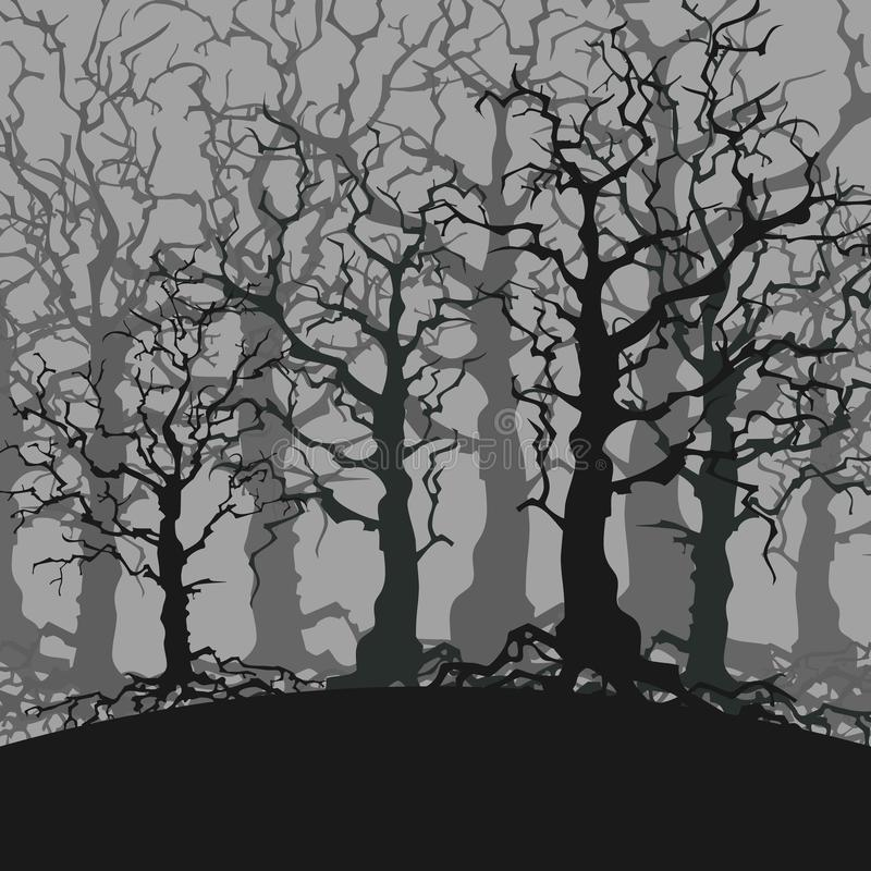 Cartoon gloomy forest background of trees without leaves. Cartoon gloomy dark forest background of trees without leaves vector illustration