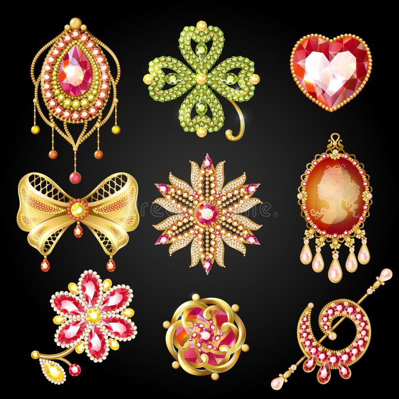 Cartoon Glossy Gold Brooches Collection. Of different shapes with jewels and gemstones isolated vector illustration stock illustration