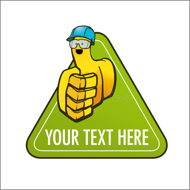 Cartoon glove with helmet and goggles on a green signage royalty free stock image