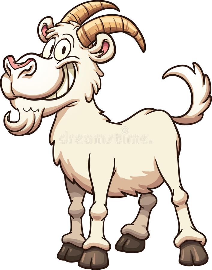 Cartoon goat. Happy cartoon goat. Vector clip art illustration with simple gradients. All in a single layer vector illustration