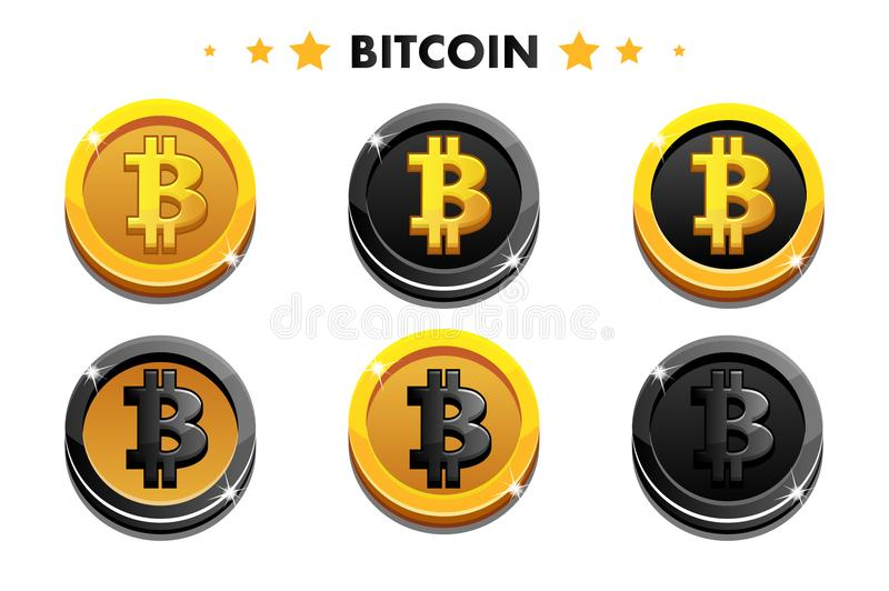 Cartoon Gold and black Bitcoin icon. Digital or Virtual currencies coin and electronic cash. Simple symbol cryptocurrency, vector assets vector illustration