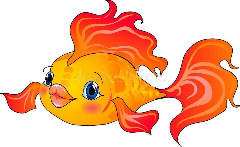 Cartoon gold fish. Vector illustration stock illustration