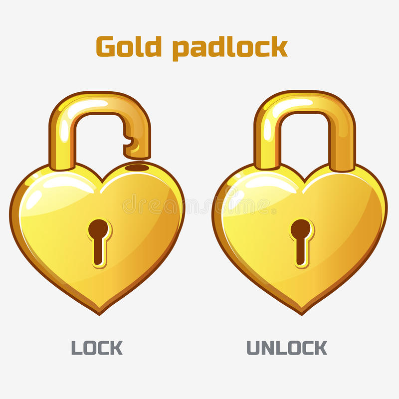 Cartoon gold padlock in heart shaped, vector illustration