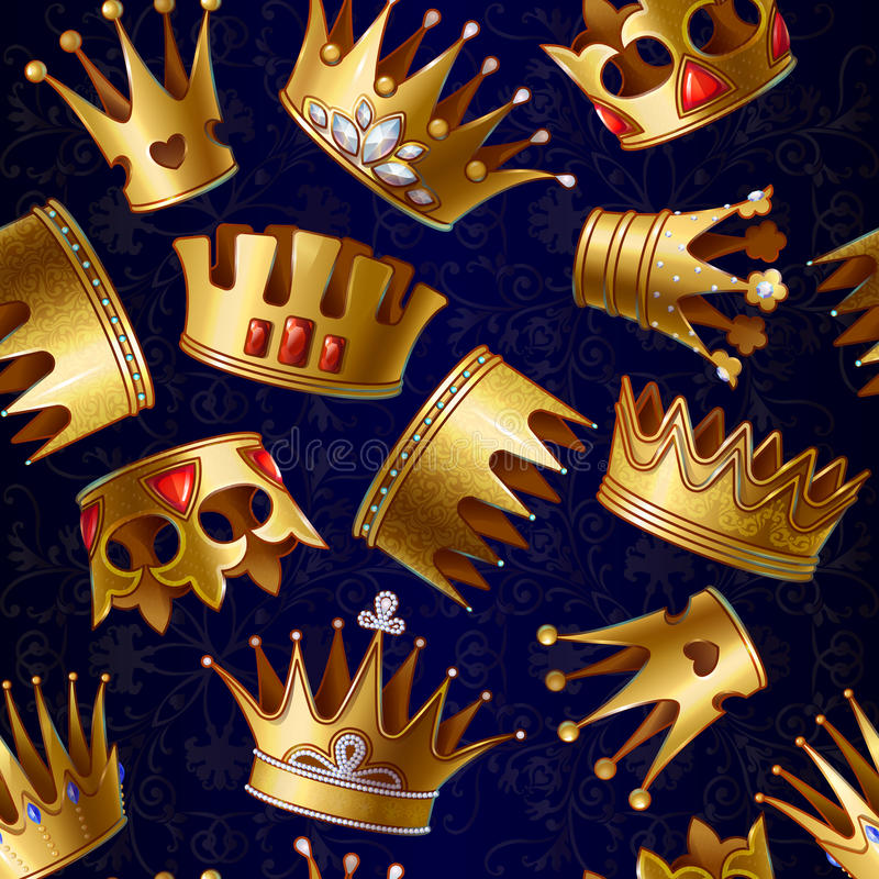 Free Cartoon Gold Royal Crowns Pattern Stock Images - 95953034