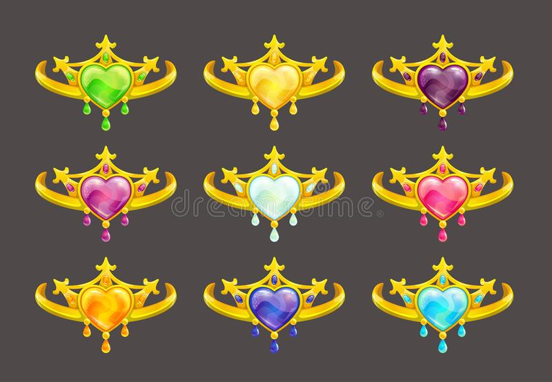 Cartoon golden princess crowns set. Vector icons on white background stock illustration