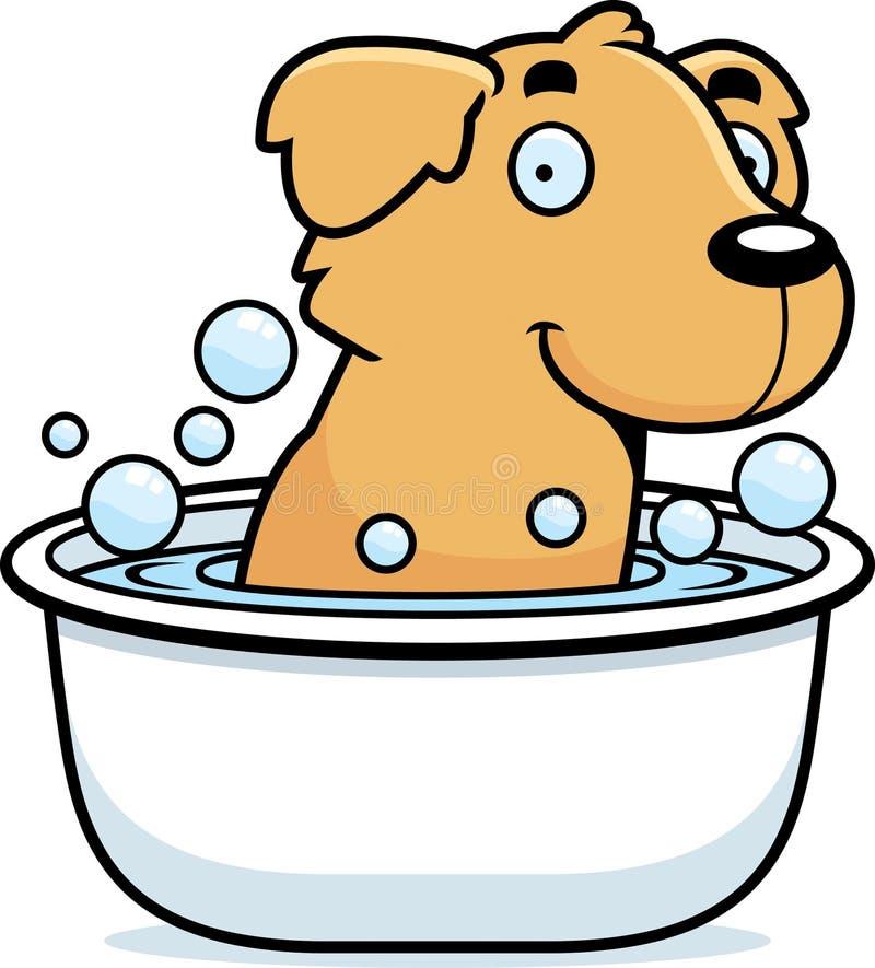 Cartoon Golden Retriever Bath royalty free illustration