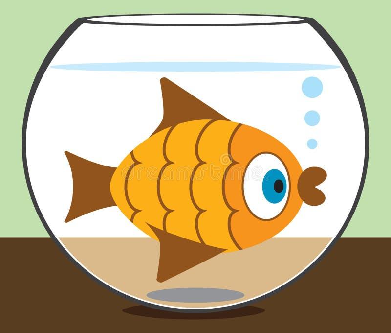 Cartoon Goldfish in Bowl. Goldfish staring at the world from his bowl stock illustration