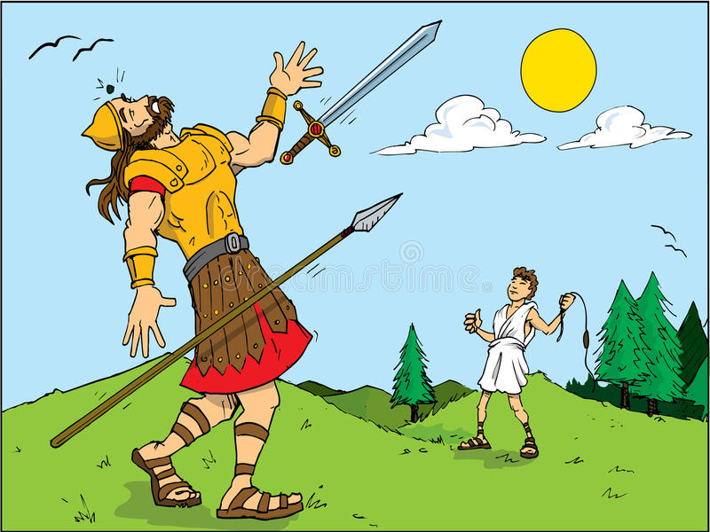 Cartoon of Goliath defeated by royalty free illustration