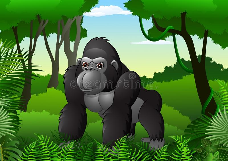 Cartoon gorilla in the thick rain forest. Illustration of Cartoon gorilla in the thick rain forest royalty free illustration