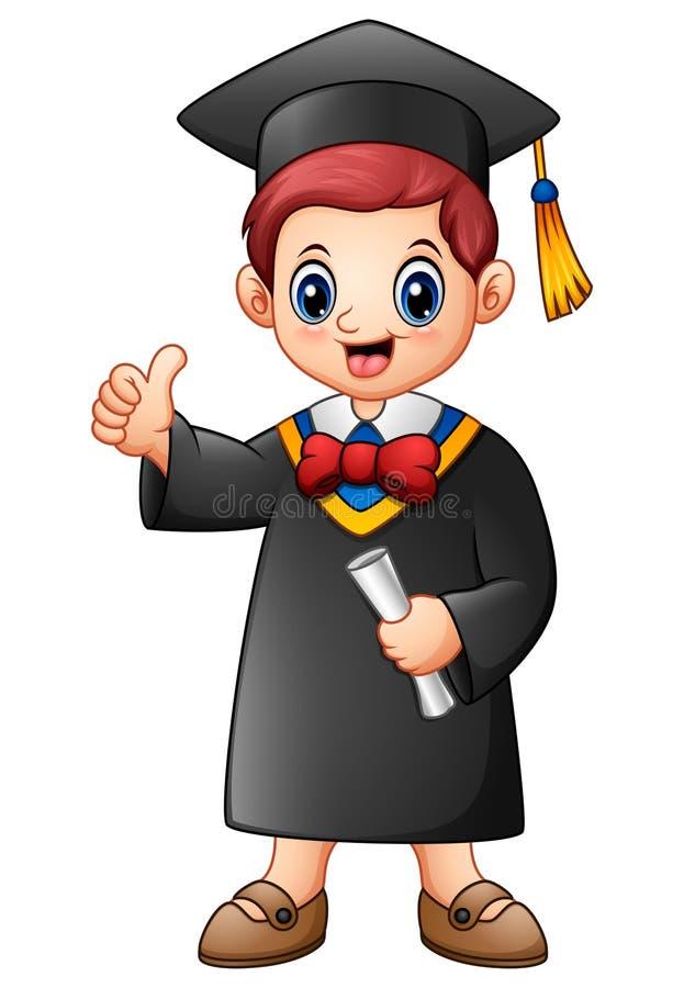 Cartoon graduation boy giving thumbs up vector illustration