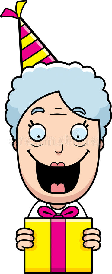 cartoon grandma birthday present stock vector illustration of rh dreamstime com Grandma Blowing Out Candles Clip Art Grandparents Clip Art