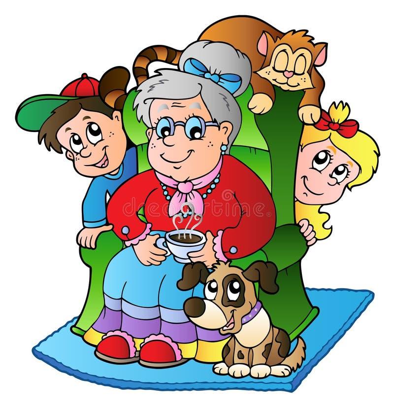 Cartoon grandma with two kids vector illustration