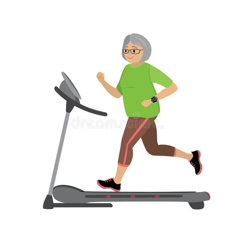 Cartoon grandmother on a treadmill. Fitness and jogging concept,isolated on white background,vector illustration royalty free illustration