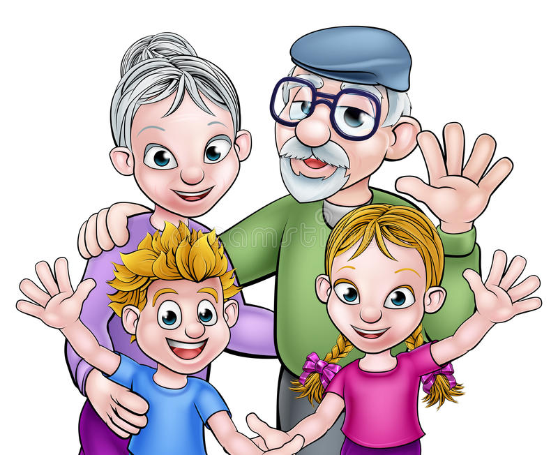 Cartoon Grandparents and Children. Cartoon kids boy and girl grand children with their grandparents grandfather and grandmother stock illustration