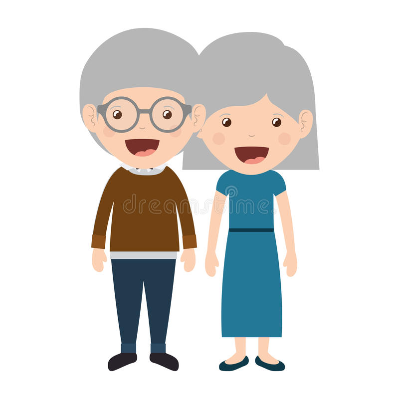 Cartoon grandparents design. Cartoon happy old man and old woman wearing casual clothes. grandparents design. vector illustration stock illustration