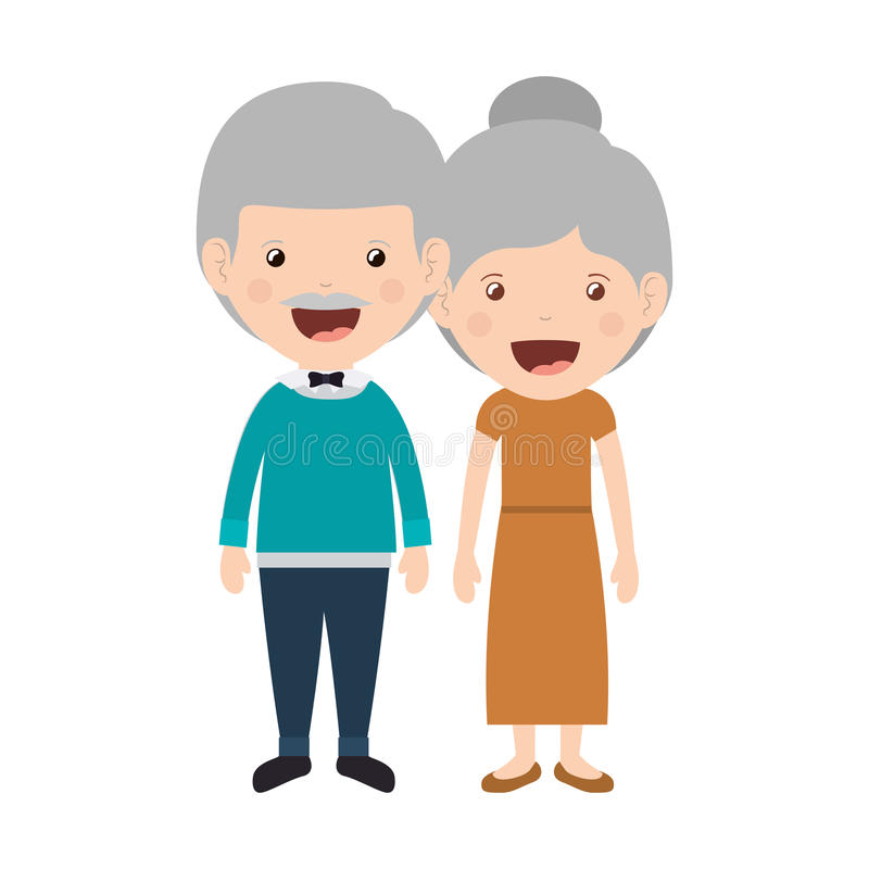 Cartoon grandparents design. Cartoon happy old man and old woman wearing casual clothes. grandparents design. vector illustration royalty free illustration
