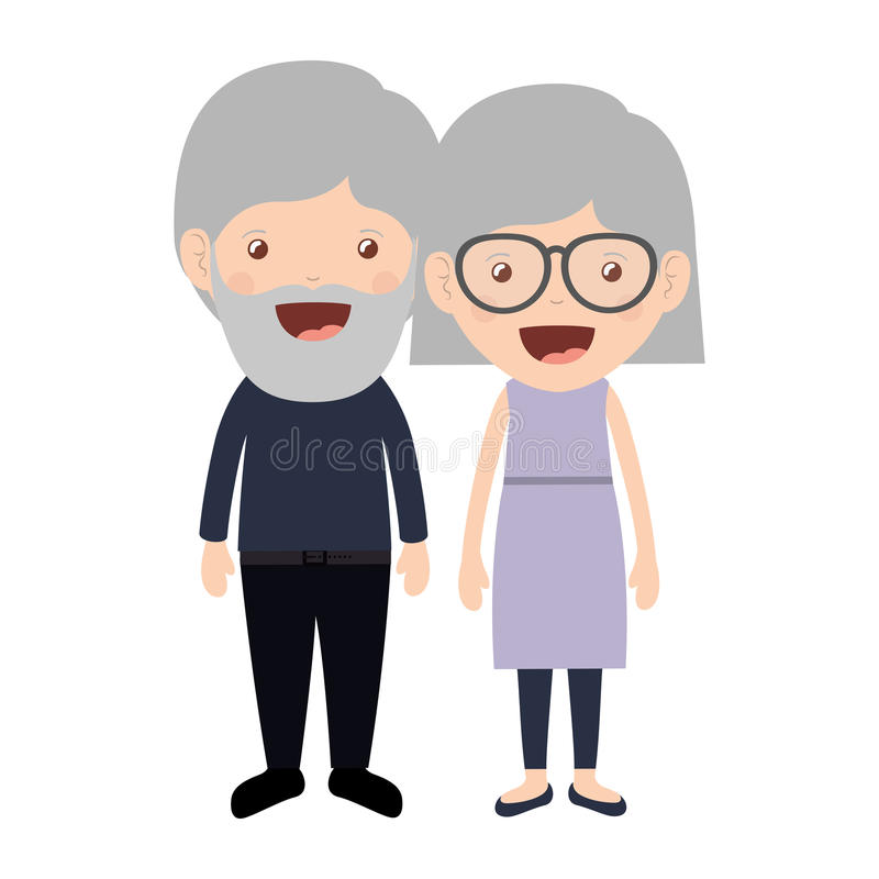 Cartoon grandparents design. Cartoon happy old man and old woman wearing casual clothes. grandparents design. vector illustration vector illustration