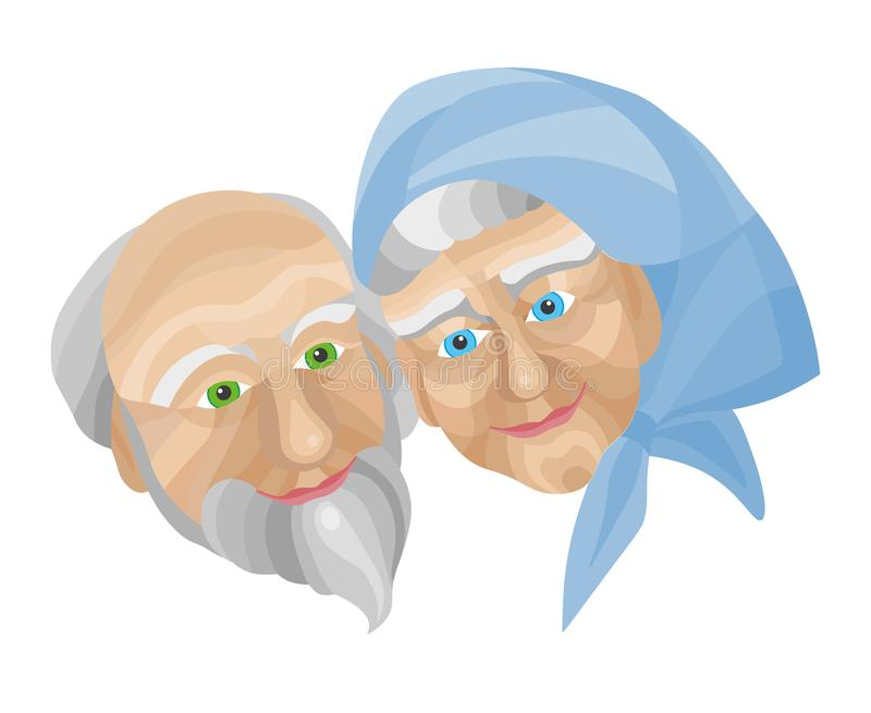 Grandparents, happy old people. Cartoon grandparents. Isolated Illustration, happy old people stock illustration