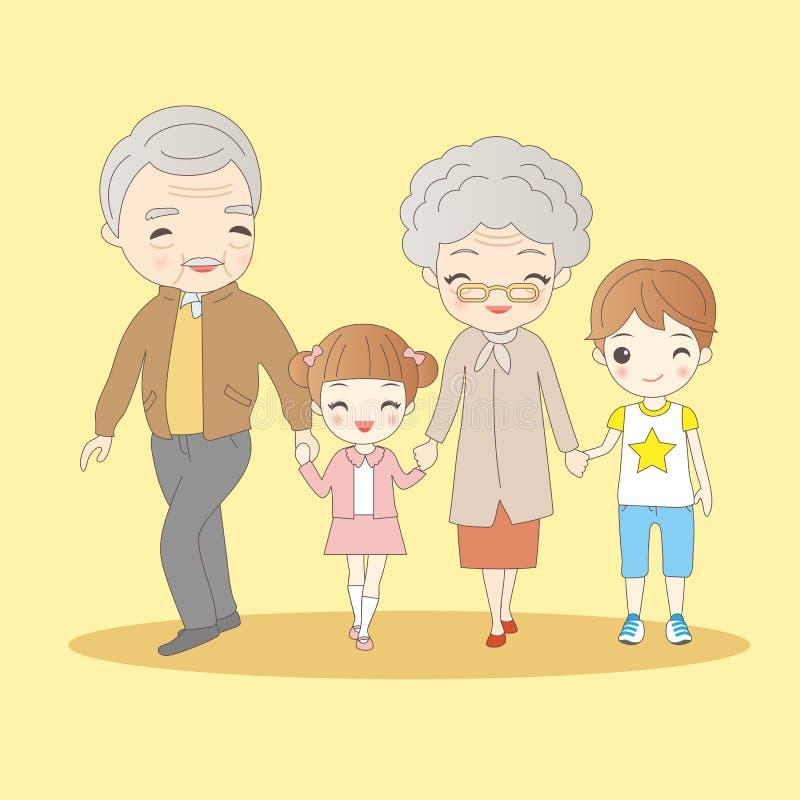 Cartoon grandparents with their grandchildren. Happy cartoon grandparents with their grandchildren royalty free illustration