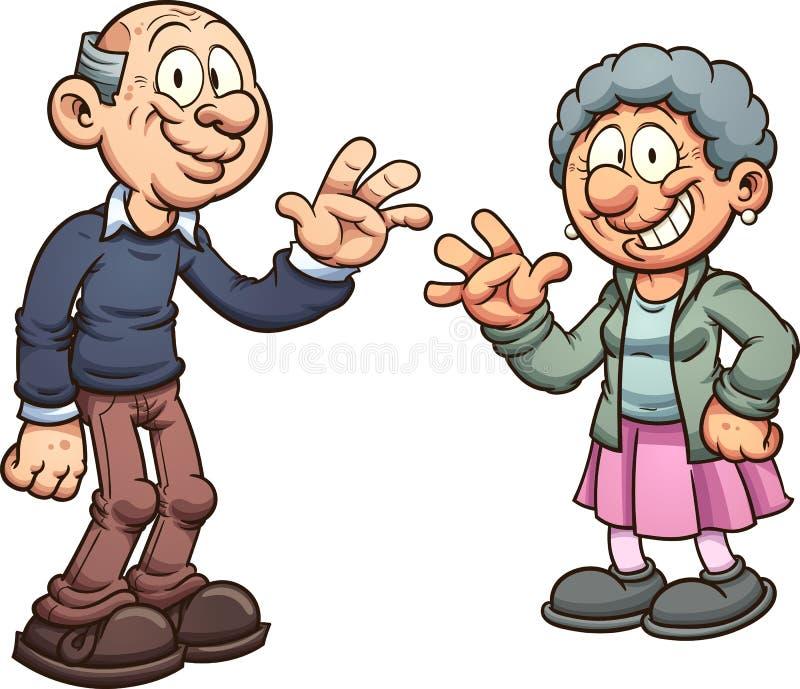 Cartoon grandparents royalty free illustration