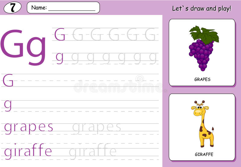 Cartoon grapes and giraffe. Alphabet tracing worksheet. Writing A-Z, coloring book and educational game for kids royalty free illustration