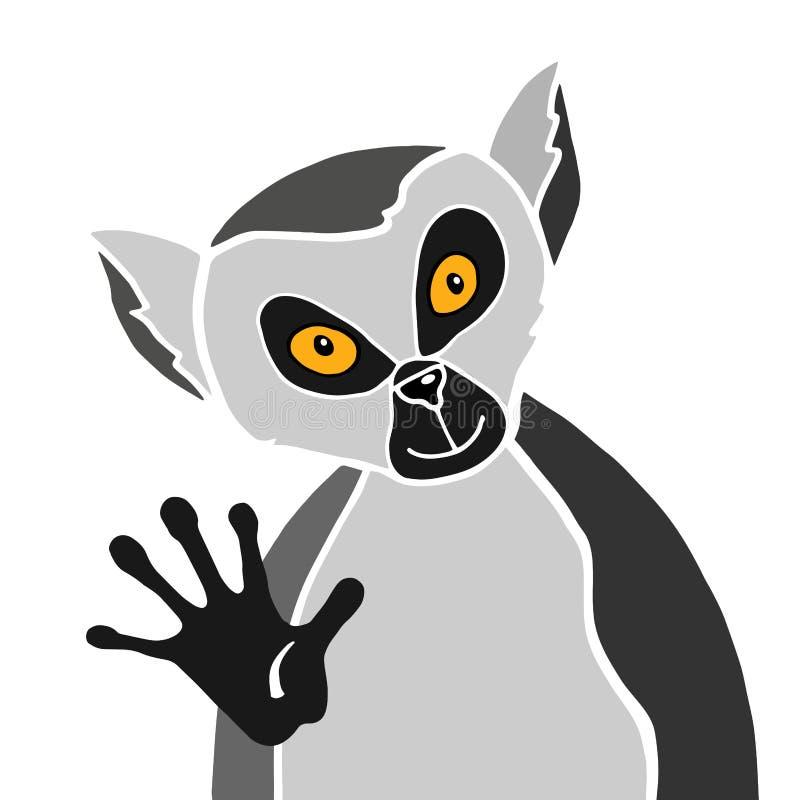 Cartoon gray lemur portrait on white. Cartoon gray funny lemur yellow eyes looks right stock illustration