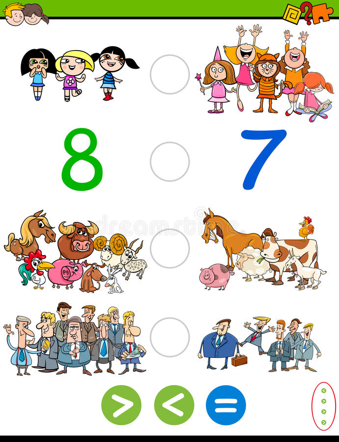 Cartoon greater less or equal game royalty free illustration