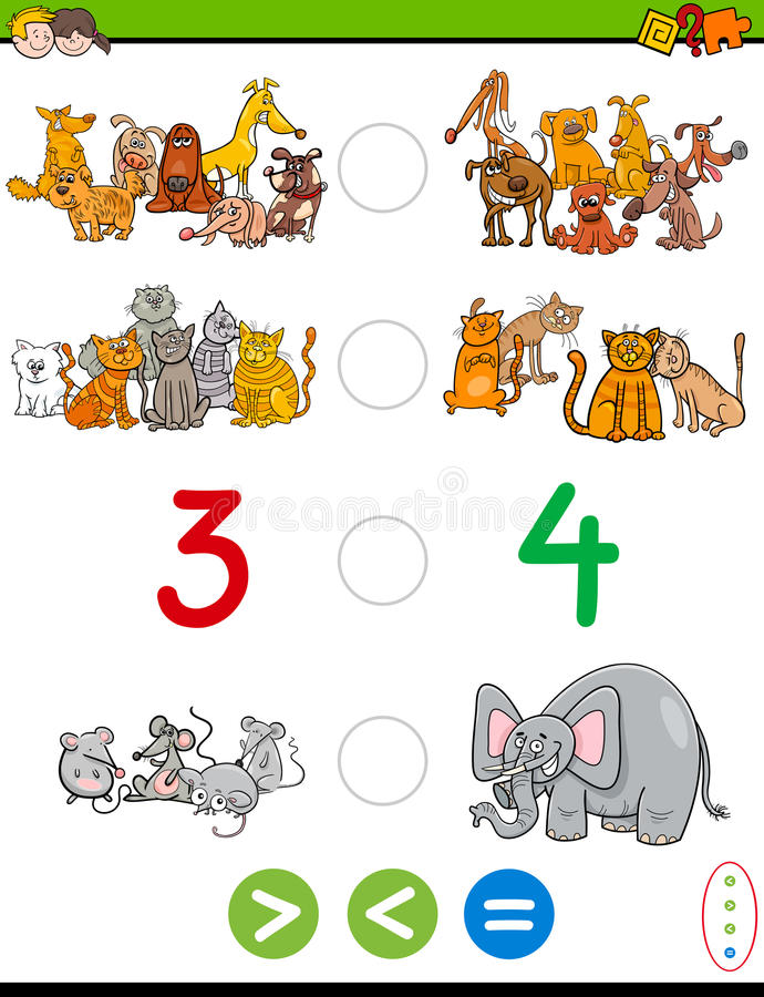 Cartoon greater less or equal worksheet. Cartoon Illustration of Educational Mathematical Activity Game of Greater Than, Less Than or Equal to for Children with stock illustration