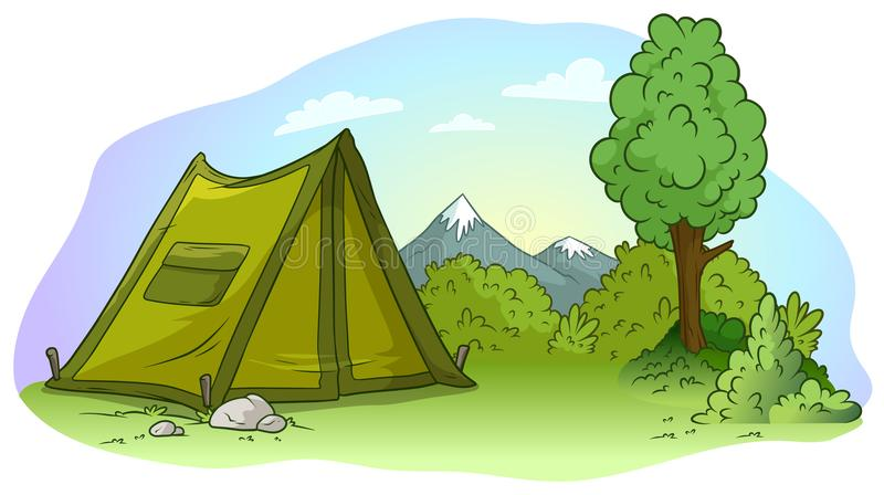 Cartoon green camping tent on grass lawn. Cartoon green camping tent with pocket on grass lawn. Big tree, brush and mountains. Vector landscape background royalty free illustration