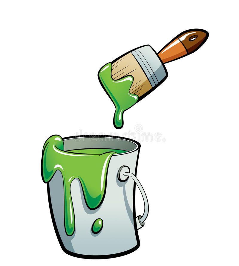 Cartoon green color paint in a paint bucket painting with paint royalty free illustration