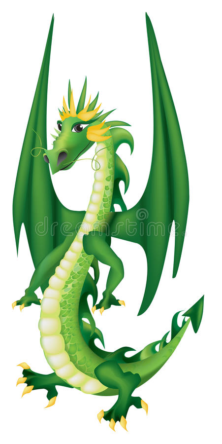 Cartoon green dragon vector illustration