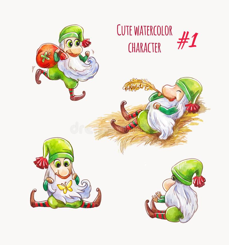 Cartoon green elf or gnome. Christmas character or unusual saint patrick. Funny vector set of characters. Christmas vector elf. Cute funny cartoon character royalty free illustration