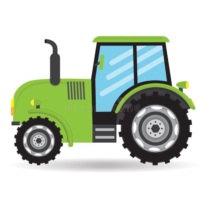 Cartoon green flat vector Tractor vehicle farm icon. On white background stock illustration